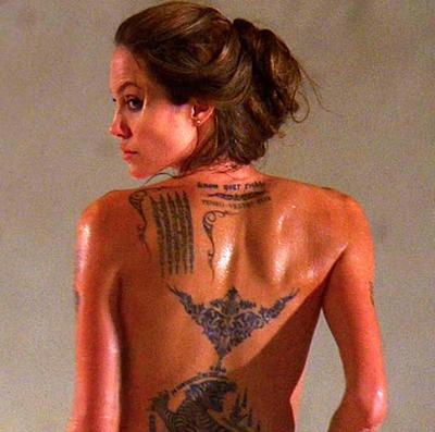 Andzelina Dzoly tatuiruotes kino naujienos